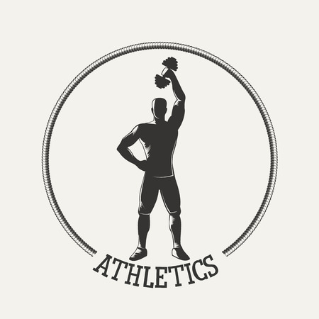Fitness emblem. Silhouette strong man lifting dumbbell.  Vintage Style illustration.