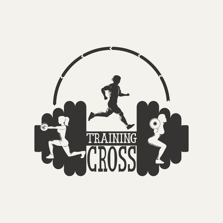 Fitness emblem. Silhouette running man, woman squats with a barbell.  Vintage Style illustration.