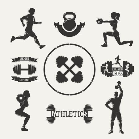 levantamiento de pesas: Establece la aptitud Silueta de la vendimia. Establecer emblemas deportivos. Banderas de la cinta