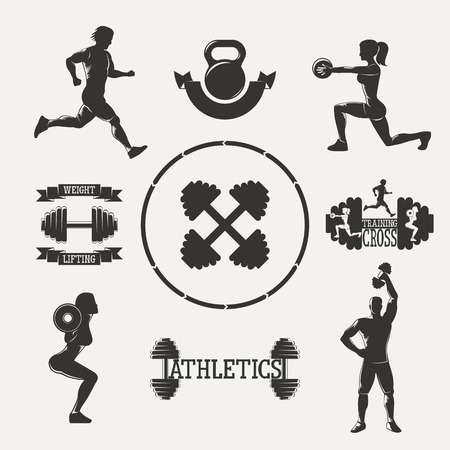 weightlifting equipment: Vintage silhouette fitness set. Set sports emblems. Ribbon banners