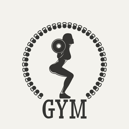 hand with dumbbells: Fitness emblem. Silhouette woman squats with a barbell.  Vintage Style illustration.