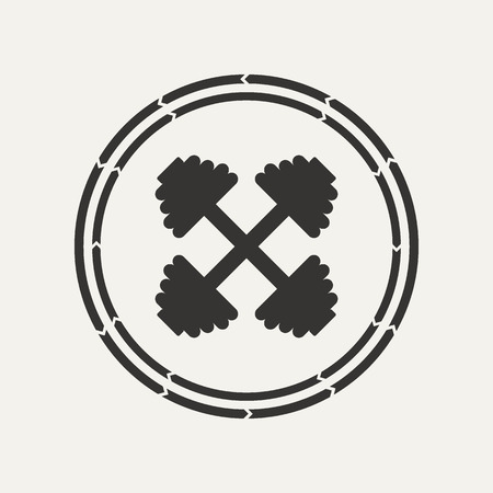 workout gym: Vintage, hand drawn setsilhouette dumbbell . Sports emblems.