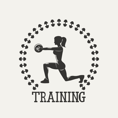 hand with dumbbells: Fitness emblem. Silhouette woman strong. Vintage Style illustration.Vintage Style illustration.