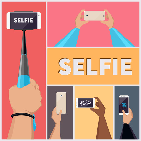 smartphone in hand: Monopod Selfie Self Portrait Tool For Smartphone. Vector Illustration set