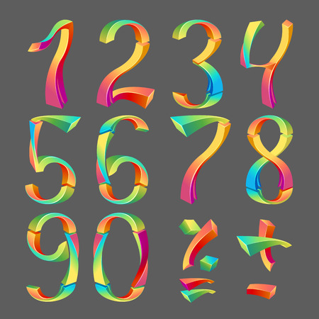 2 0: Set of colored numbers 3D- Arabic numerals (0, 1, 2, 3, 4, 5, 6, 7, 8, 9), vector illustration. Illustration
