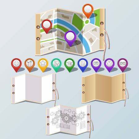 navigation icons: Collection of GPS and navigation icons on map and set paper. Vector illustration. Illustration
