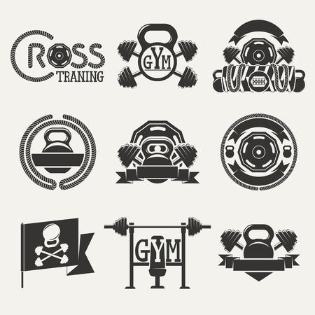 pesas: Logotipos conjunto que consta de mancuernas, barras y una cuerda. Aptitud Cruz y gimnasio zal.Vektor ilustraci�n.