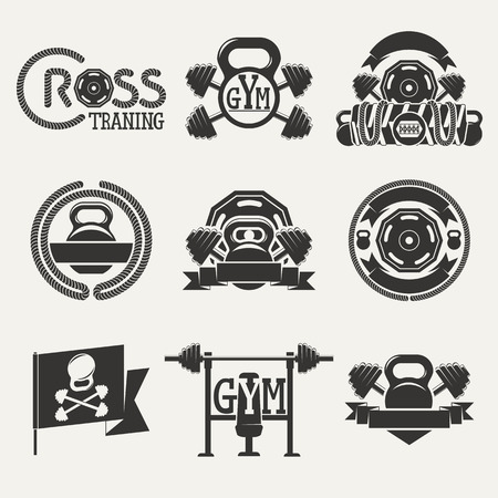 hand with dumbbell: Set logos consisting of dumbbells, barbells and a rope. Cross fitness and gym zal.Vektor illustration.