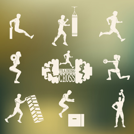 sit ups: Set emblema with men and women who play sports . Colored background . Cross Fitness and gym. Vector illustration .