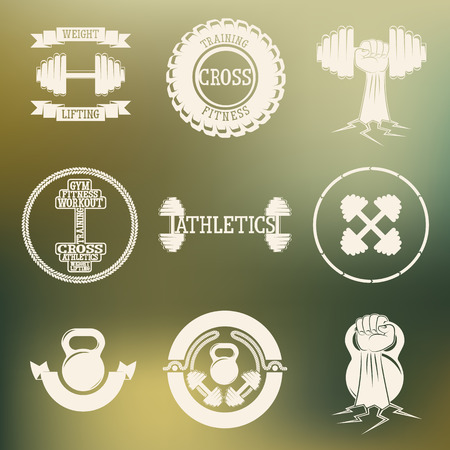 Logos consisting of dumbbells, barbells and rope on a colored background . Cross fitness and gym zal.Vektor illustration .