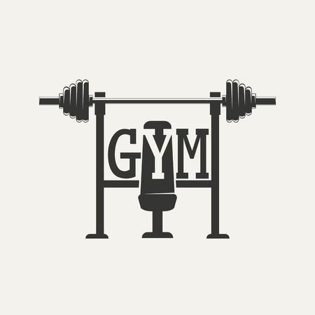 Emblem of the cross bars for fitness and gym. Vector illustration . Illustration