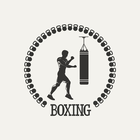 Fitnes emblem. Silhouette  men with punching bag. Vintage Style illustration.