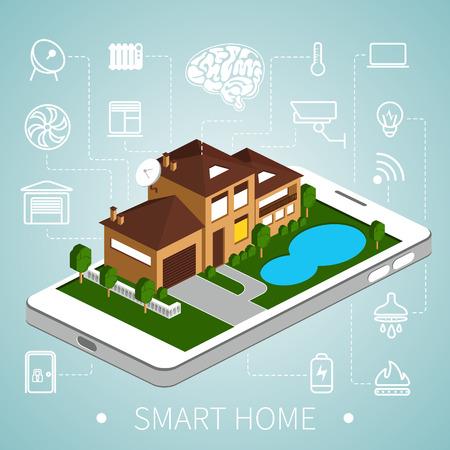 monitoreo: Casa inteligente con iconos de esquema en el tel�fono inteligente. Casa isom�trica.