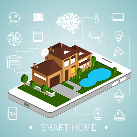 building house: Casa intelligente con icone contorno su smart phone. Casa isometrica.