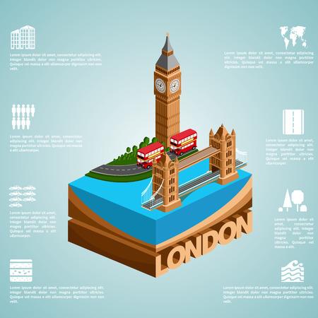 bridges: London. Set of detailed isometric vector. English bus, Tower Bridge and Big Ben. Infographics