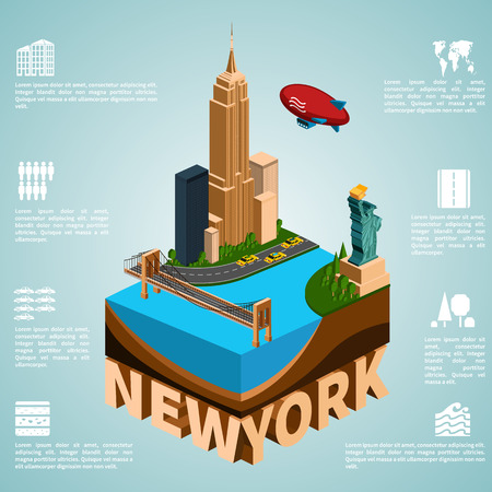 empire state: New York. Set of detailed isometric vector. Statue of Liberty, Empire State Building, Brooklyn Bridge. Infographics EPS 8. Illustration