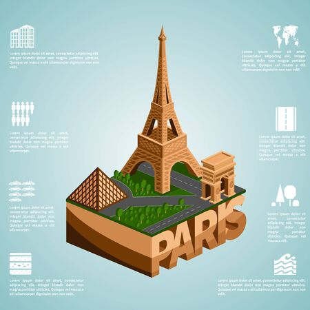 towers: Paris. Set of detailed isometric vector.  Infographics