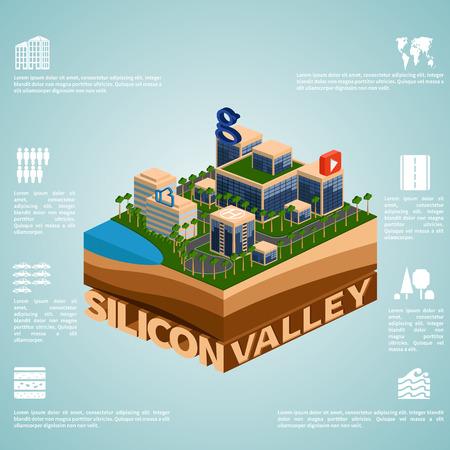Silicon Valley. Ensemble de vecteur isométrique détaillée. Infographie.