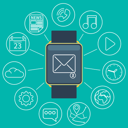 wireles: Flat design style modern vector illustration concept of smart watch gadget, personal digital device with mobile apps like phone calls, sms texting, music media player, calendar and time management. Illustration