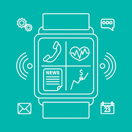 wireles: Outline design style modern vector illustration concept of smart watch gadget, personal digital device with mobile apps like phone calls, sms texting, music media player, calendar and time management.