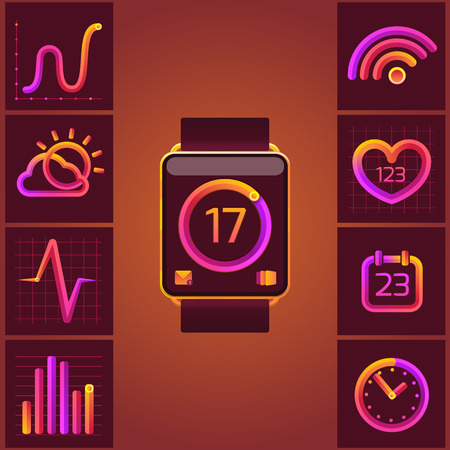 wireles: Colorful design style modern vector illustration concept of smart watch gadget, personal digital device with mobile apps like phone calls, sms texting, music media player, calendar and time management.