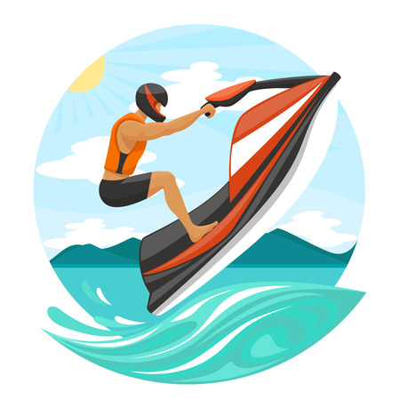 skis: young man in a helmet and life jacket on a water bike jumping over the waves of the sea. Illustration