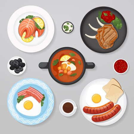 lay: Food business flat lay idea. Food icons top view. Business lunch. Plates with foot on it Illustration