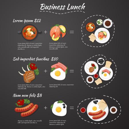 negocios comida: Infografía menú almuerzo de negocios. Ofertas especiales. Comida del set a un precio reducido Vectores