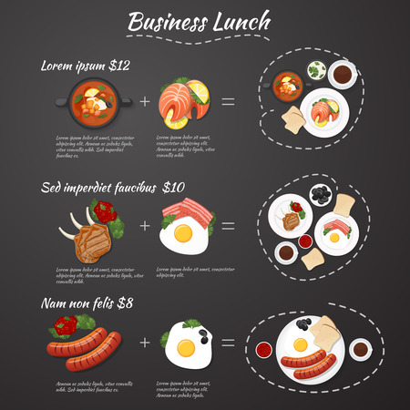 Infographic business lunch menu. Special offers. Set meal at a discounted price Illustration