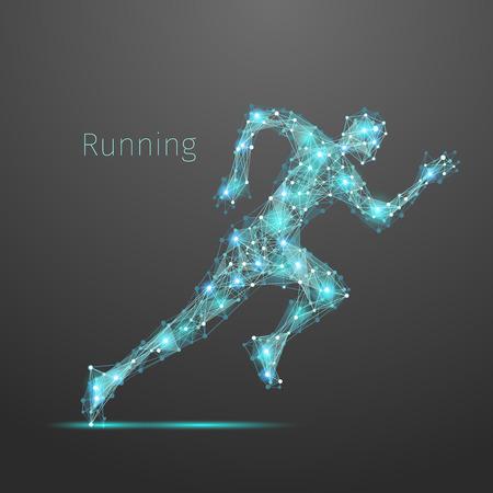 Running Man wielokątnych. Wektor geometryczne ilustracji. Streszczenie wielokątne szkielet oczek