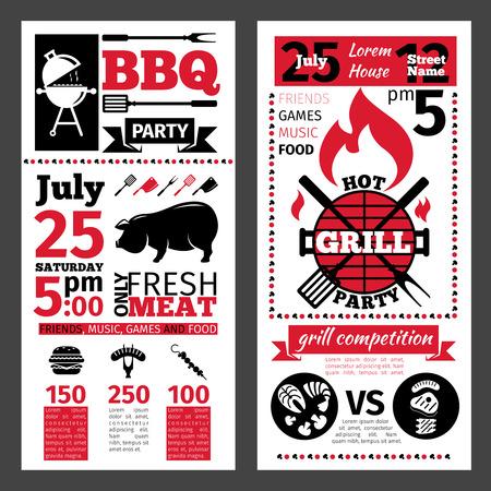 parrillero: Folleto barbacoa diseño del menú. Barbacoa y asar invitación del partido.
