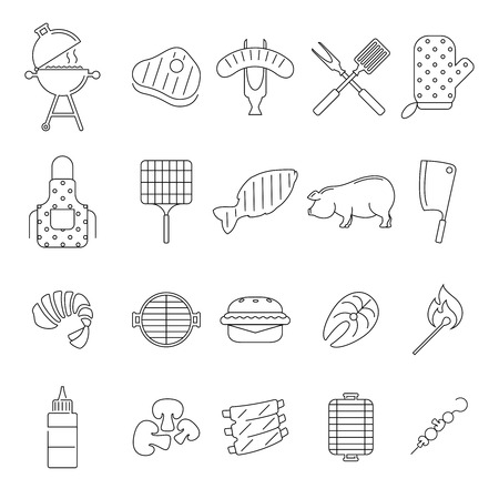 outline barbecue icons set on white background. BBQ Party Icons. Vector