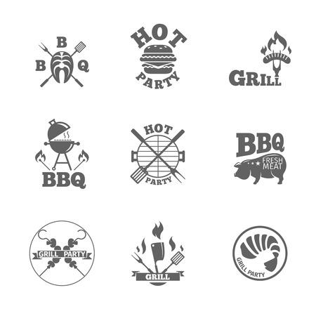 parrillero: Colección de insignias para barbacoa y etiquetas. Conjunto de parrilla negro y símbolos barbacoa y etiquetas.