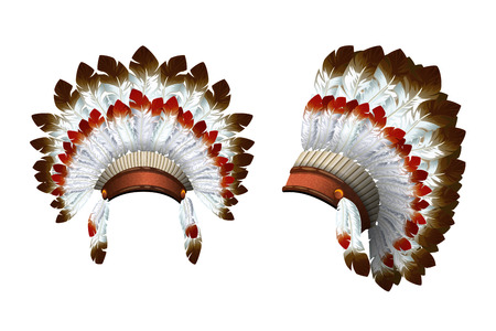War bonnet. Front view and a side view. Indian isolated headdress. Vector Vettoriali