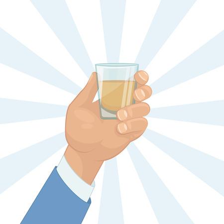 tomando alcohol: Mano masculina que sostiene un trago de bebida de alcohol. Diseño plano