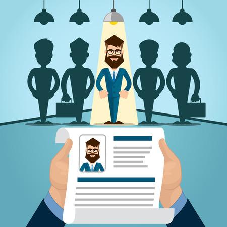 Vitae Reclutamiento Candidato Trabajo Posición, Currículo. Manos asimiento CV Perfil Elija entre Grupo de hombres de negocios de coches Entrevista Ilustración Vector