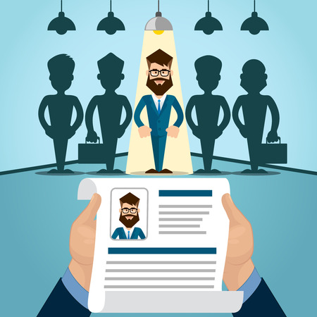 interview: Vitae Recruitment Candidate Job Position, Curriculum. Hands Hold CV Profile Choose from Group of Business People to Hire Interview Vector Illustration