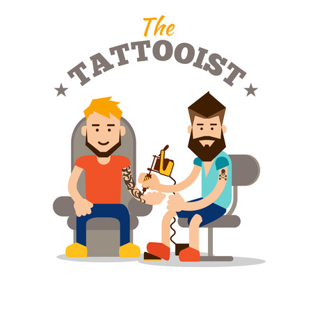 Tattooist makes a tattoo. Flat Design. Tattoo studio