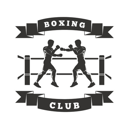 two men are boxing in the ring. On the ribbon shows Boxing Club