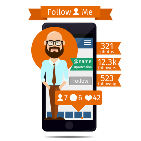 Smartphone with the avatar man on the screen. Number liked, following, followers.