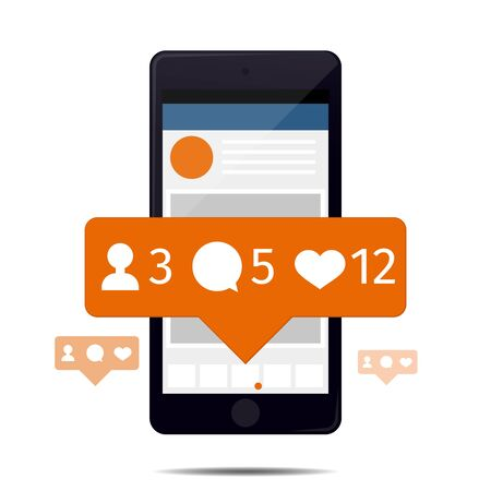 follower: Like follower comment icons on the smartphone screen Illustration