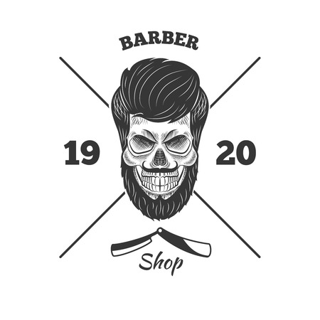 barber scissors: Razors and skull with a beard in the beard shop Illustration