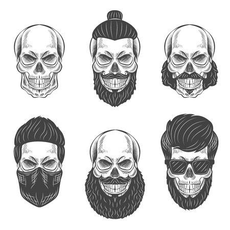 white beard: Skulls with Hipster hair and beards, fashion illustration set.