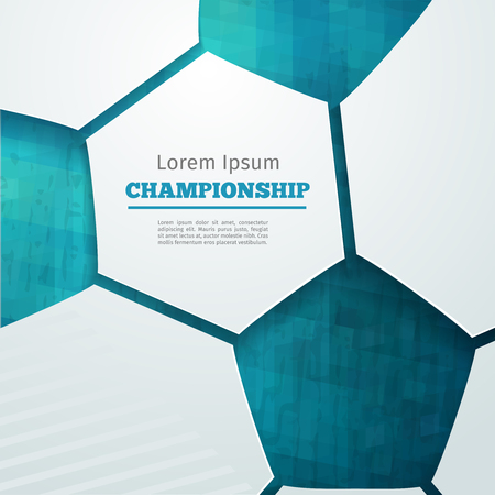 symbol sport: Fußball abstrakten geometrischen Hintergrund mit Polygonen. Fußball-Label-Design. Info Grafik Komposition mit geometrischen Formen. Vektor-Illustration für Sportpräsentation