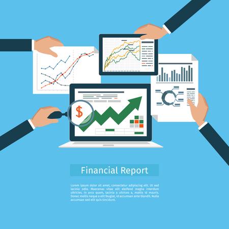 Begrippen web banner en drukwerk. Platte ontwerp illustratie concepten voor business analyse, financieel verslag, consulting, teamwerk, projectmanagement en ontwikkeling.