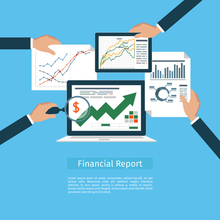financial report: Concepts web banner and printed materials. Flat design illustration concepts for business analysis, financial report, consulting, team work, project management and development.
