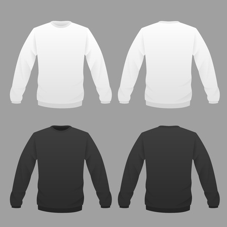 hoody: Hoody template set, front and back view. Vector illustration.