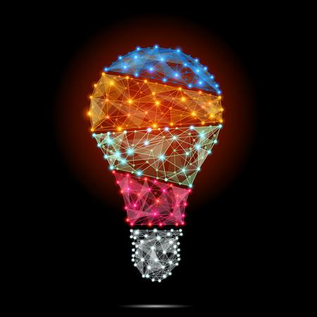 pensamiento creativo: Poligonal Bombilla con el concepto de idea. Ilustración vectorial Vectores