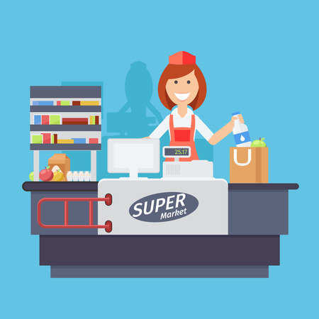 Supermarket store counter desk equipment and clerk in uniform ringing up grocery purchases. Flat style vector illustration isolated on white background. Иллюстрация