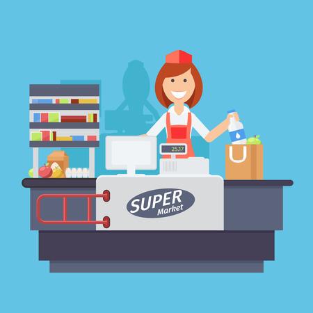 punto vendita: Supermercato attrezzature contatore scrivania e impiegato in uniforme squillare gli acquisti di generi alimentari. Appartamento stile illustrazione vettoriale isolato su sfondo bianco.